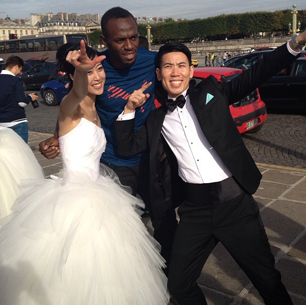 Usain Bolt bride and groom
